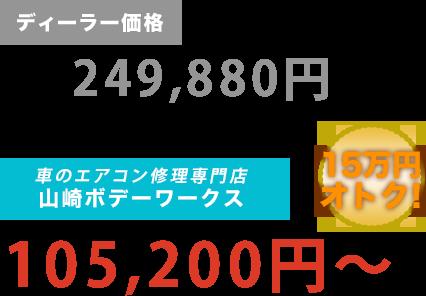 ディーラー価格249,880円が山崎ボデーワークスだと105,200円~。15万円もお得!